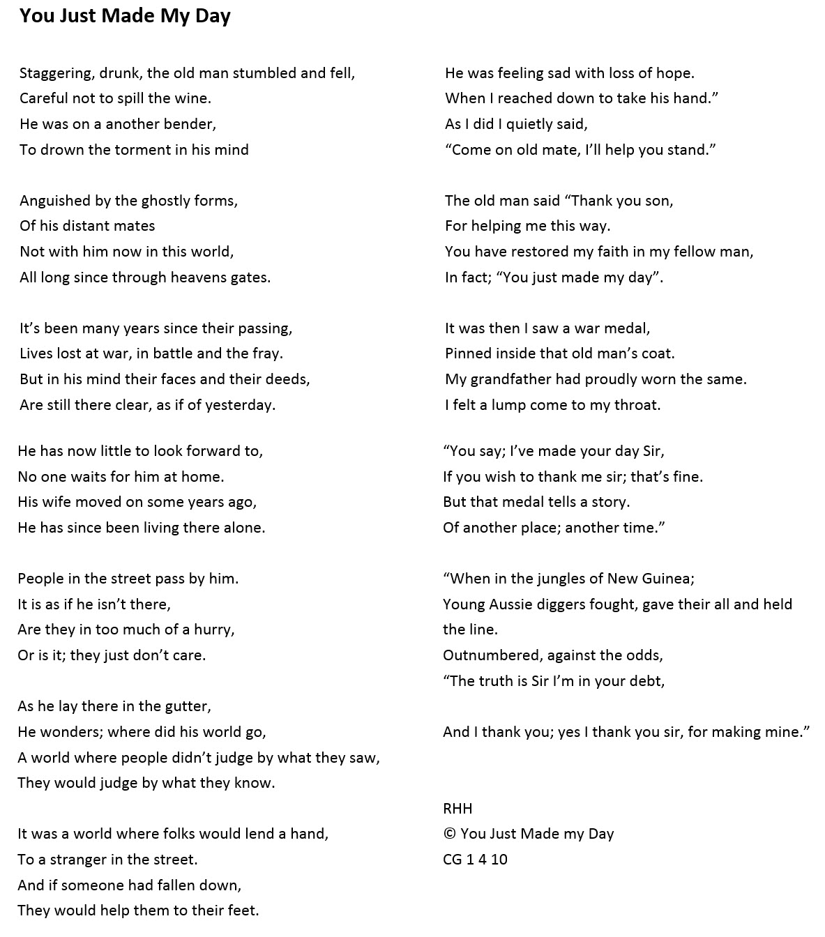 2018 Competition Carer Poems One Door Mental Health